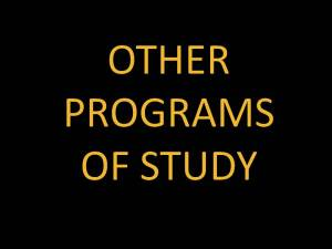 other programs of study