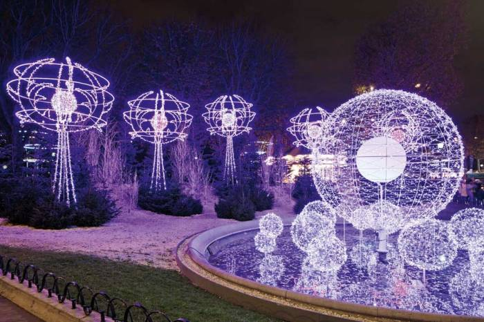 3. Blue bulbs light the way along the Champs Elysees
