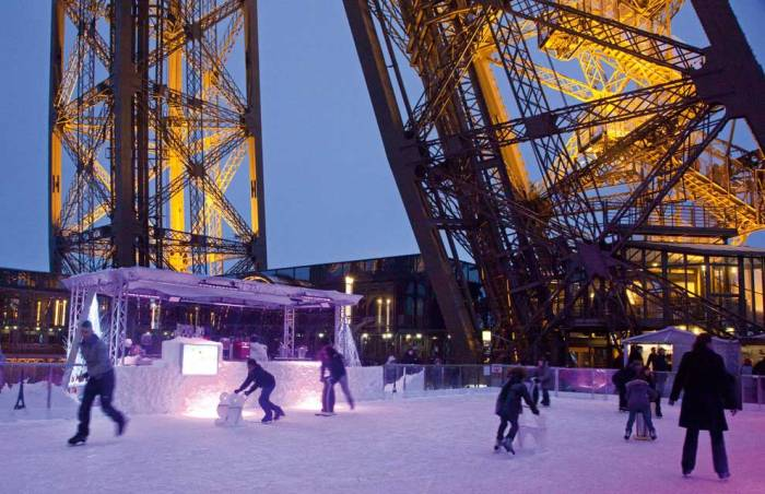 4. An outdoor skating rink and the Trocadero Christmas Market stand along side the Eiffel Tower