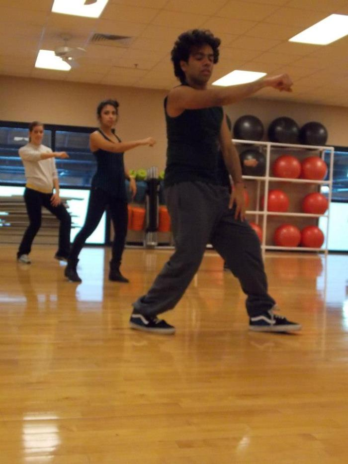 Anurag dancing in studio with the Official Dance Crew