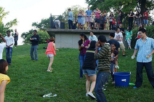 Students joining in for the water balloon fight!