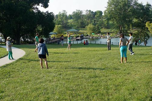 Enjoying a game by the Lake