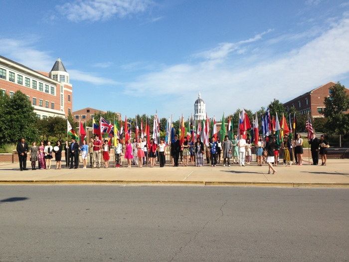 Parade of Nations makes a stop in front of Jesse Hall
