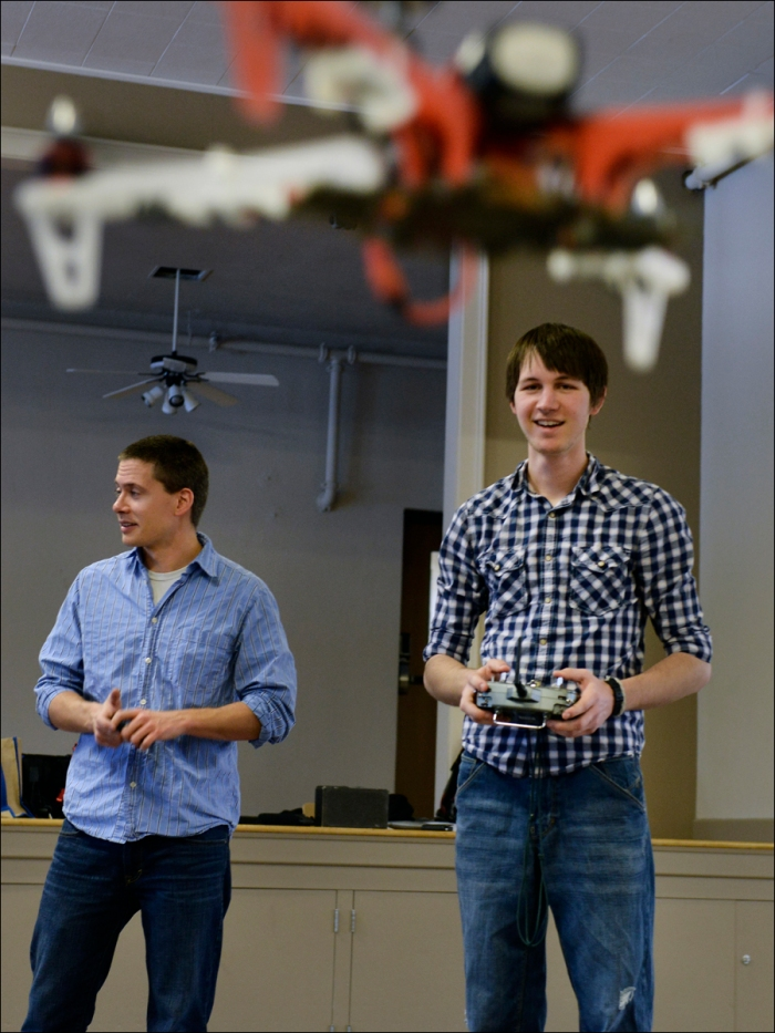 "University of Missouri J-Bot ""Drone"" class taught by Professor Bill Allen practices flying quad copters and other remote controlled aerial craft to pioneer efforts in applying their usage to journalism."