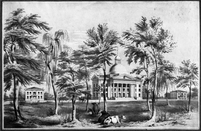 Artist's rendering of Academic Hall, ca. 1850. Courtesy University Archives
